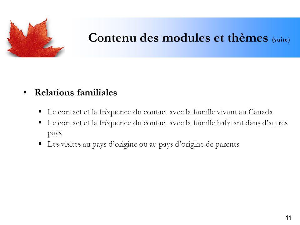 11 Contenu des modules et thèmes (suite) Relations familiales Le contact et la fréquence du contact avec la famille vivant au Canada Le contact et la