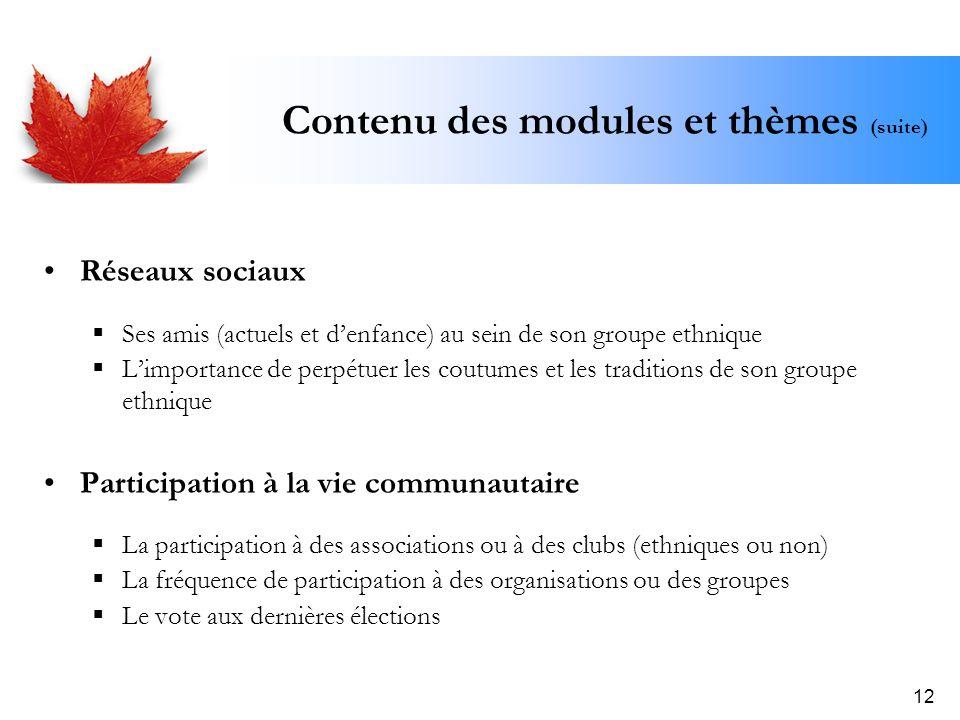 12 Contenu des modules et thèmes (suite) Réseaux sociaux Ses amis (actuels et denfance) au sein de son groupe ethnique Limportance de perpétuer les co