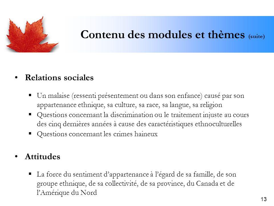 13 Contenu des modules et thèmes (suite) Relations sociales Un malaise (ressenti présentement ou dans son enfance) causé par son appartenance ethnique