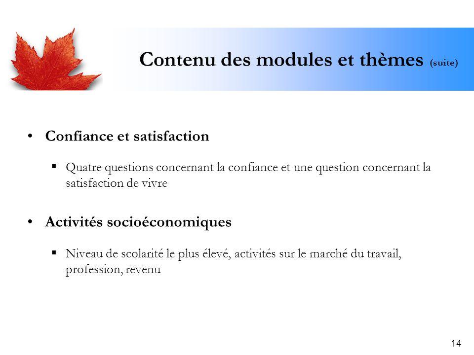 14 Contenu des modules et thèmes (suite) Confiance et satisfaction Quatre questions concernant la confiance et une question concernant la satisfaction