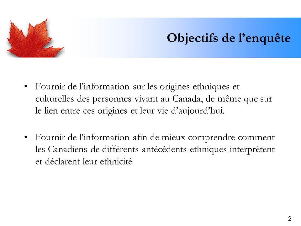 2 Objectifs de lenquête Fournir de linformation sur les origines ethniques et culturelles des personnes vivant au Canada, de même que sur le lien entr