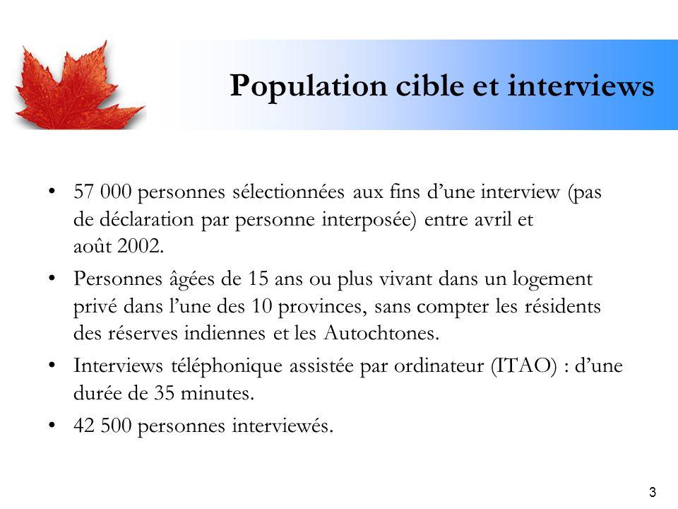 3 Population cible et interviews 57 000 personnes sélectionnées aux fins dune interview (pas de déclaration par personne interposée) entre avril et ao