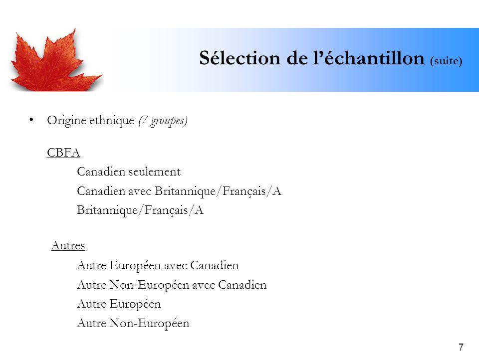 7 Sélection de léchantillon (suite) Origine ethnique (7 groupes) CBFA Canadien seulement Canadien avec Britannique/Français/A Britannique/Français/A A