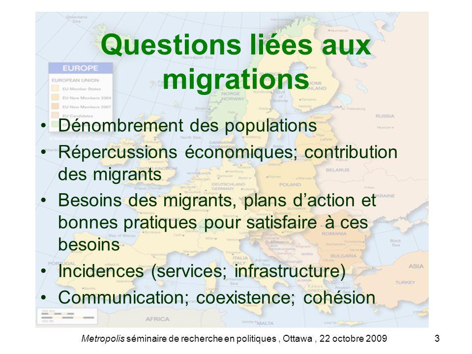Questions liées aux migrations Dénombrement des populations Répercussions économiques; contribution des migrants Besoins des migrants, plans daction e