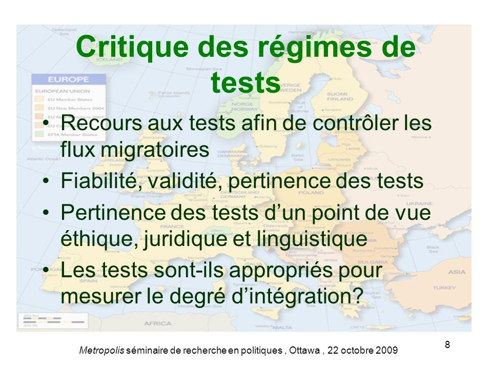 Critique des régimes de tests Recours aux tests afin de contrôler les flux migratoires Fiabilité, validité, pertinence des tests Pertinence des tests