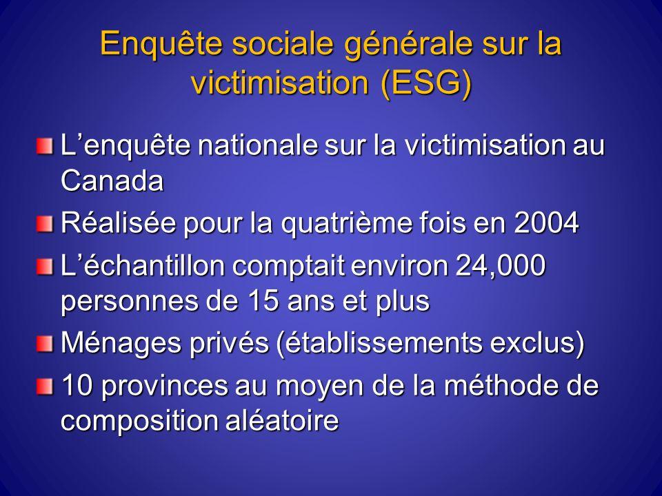 Enquête sociale générale sur la victimisation (ESG) Lenquête nationale sur la victimisation au Canada Réalisée pour la quatrième fois en 2004 Léchantillon comptait environ 24,000 personnes de 15 ans et plus Ménages privés (établissements exclus) 10 provinces au moyen de la méthode de composition aléatoire