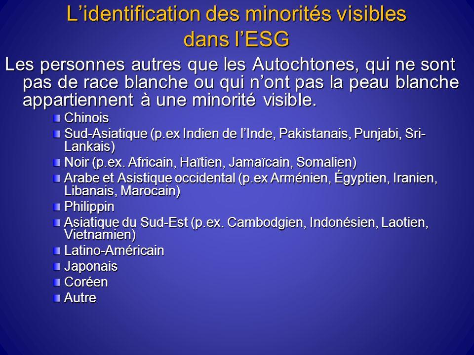 Lidentification des minorités visibles dans lESG Les personnes autres que les Autochtones, qui ne sont pas de race blanche ou qui nont pas la peau blanche appartiennent à une minorité visible.