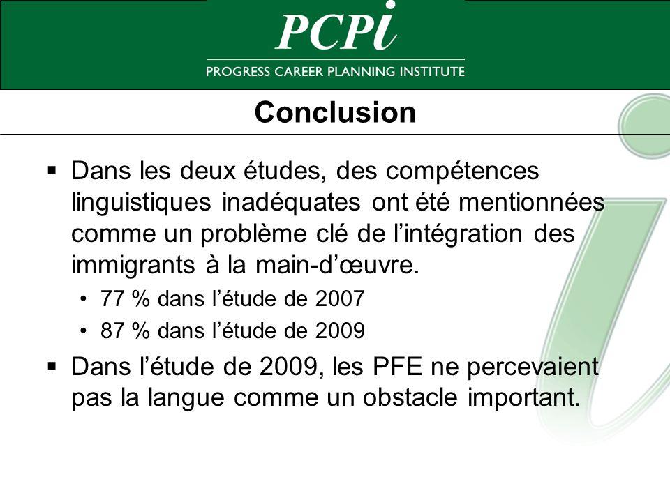 Conclusion Dans les deux études, des compétences linguistiques inadéquates ont été mentionnées comme un problème clé de lintégration des immigrants à