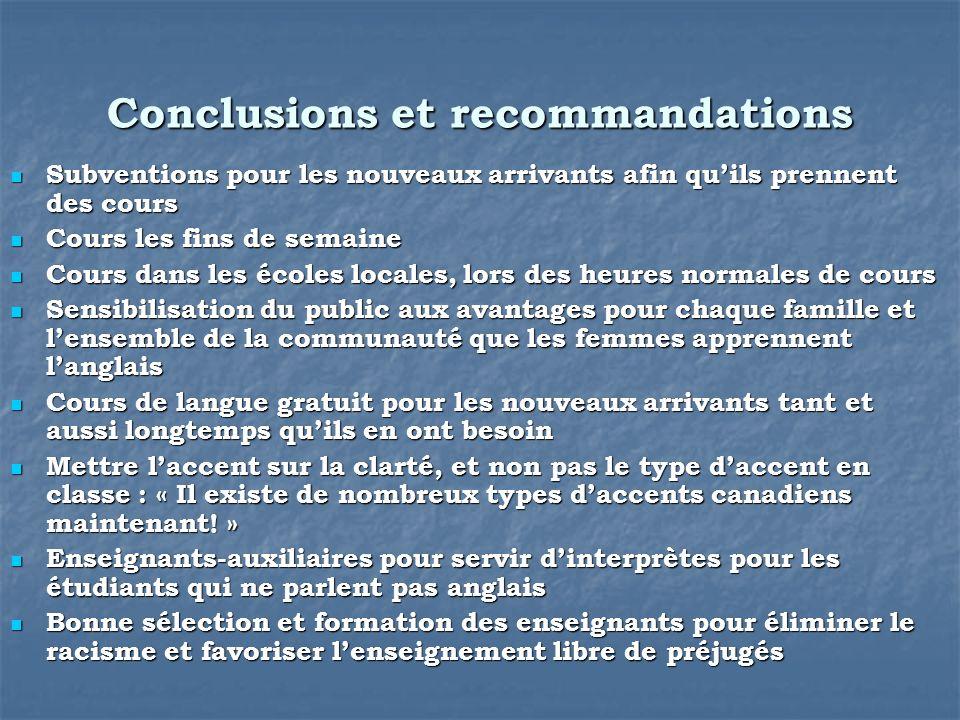 Conclusions et recommandations Subventions pour les nouveaux arrivants afin quils prennent des cours Subventions pour les nouveaux arrivants afin quil