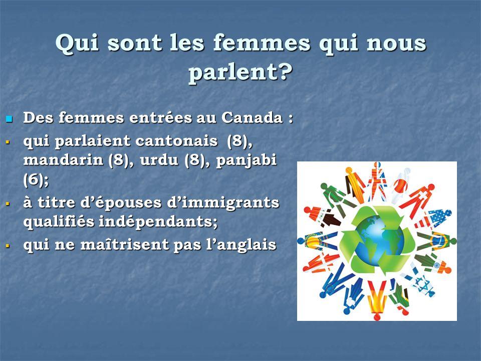 Qui sont les femmes qui nous parlent? Des femmes entrées au Canada : Des femmes entrées au Canada : qui parlaient cantonais (8), mandarin (8), urdu (8