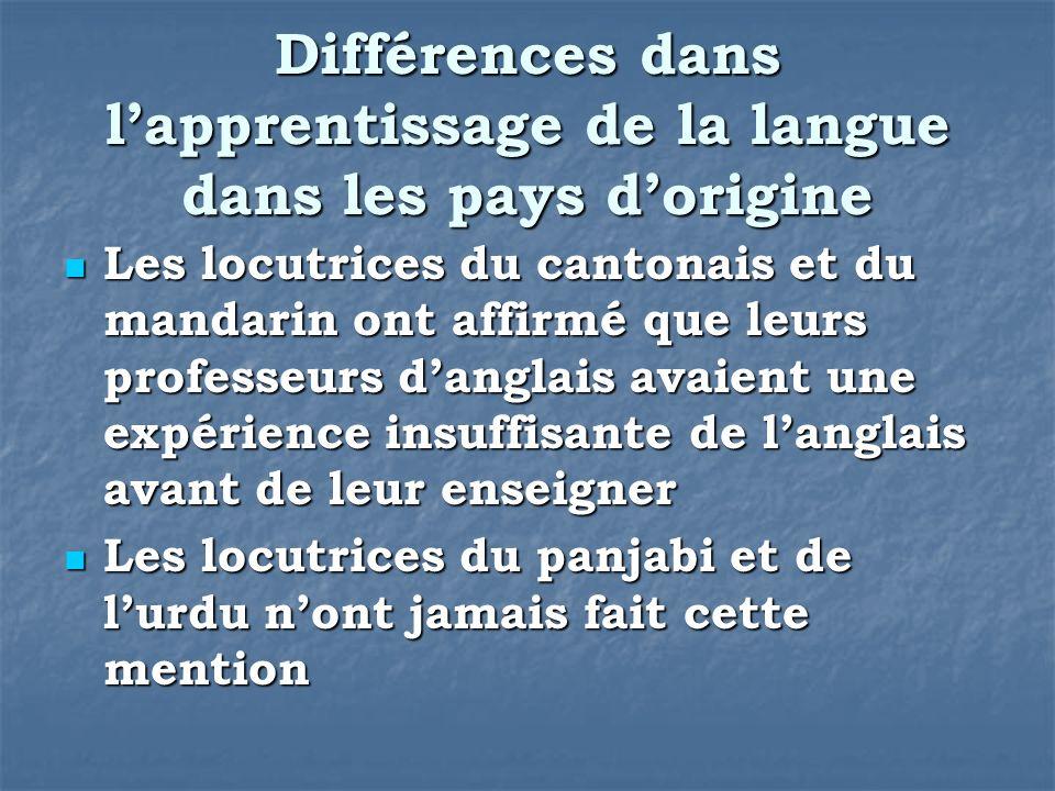 Différences dans lapprentissage de la langue dans les pays dorigine Les locutrices du cantonais et du mandarin ont affirmé que leurs professeurs dangl