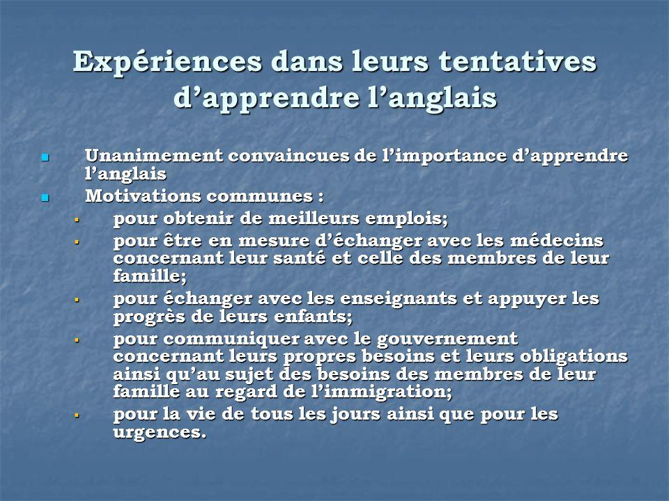 Expériences dans leurs tentatives dapprendre langlais Unanimement convaincues de limportance dapprendre langlais Unanimement convaincues de limportanc
