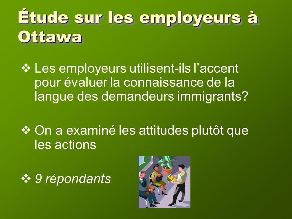 Étude sur les employeurs à Ottawa Les employeurs utilisent-ils laccent pour évaluer la connaissance de la langue des demandeurs immigrants.