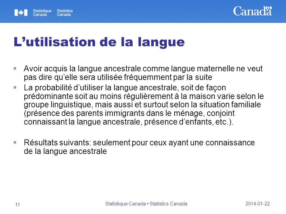 2014-01-22 Statistique Canada Statistics Canada 11 Lutilisation de la langue Avoir acquis la langue ancestrale comme langue maternelle ne veut pas dir