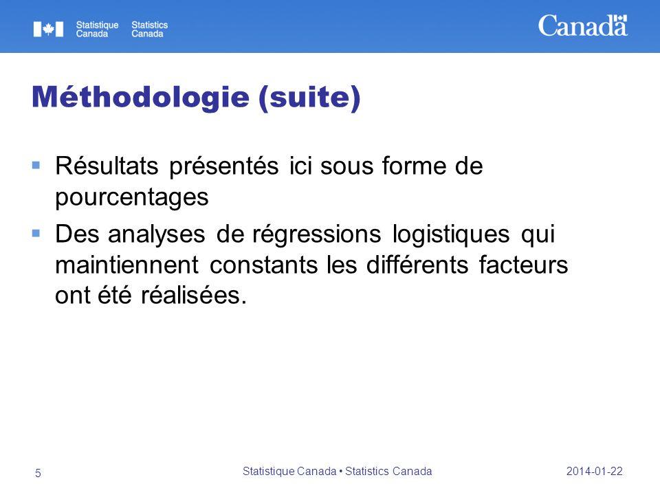 2014-01-22 Statistique Canada Statistics Canada 5 Méthodologie (suite) Résultats présentés ici sous forme de pourcentages Des analyses de régressions
