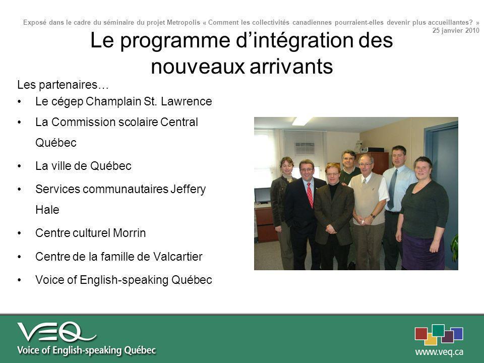 Les partenaires… Le cégep Champlain St. Lawrence La Commission scolaire Central Québec La ville de Québec Services communautaires Jeffery Hale Centre