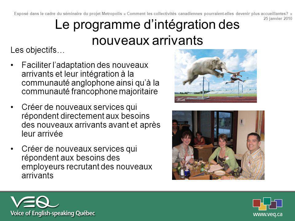 Les objectifs… Faciliter ladaptation des nouveaux arrivants et leur intégration à la communauté anglophone ainsi quà la communauté francophone majorit