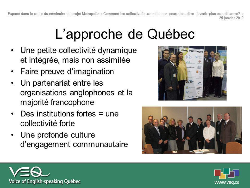 Lapproche de Québec Une petite collectivité dynamique et intégrée, mais non assimilée Faire preuve dimagination Un partenariat entre les organisations