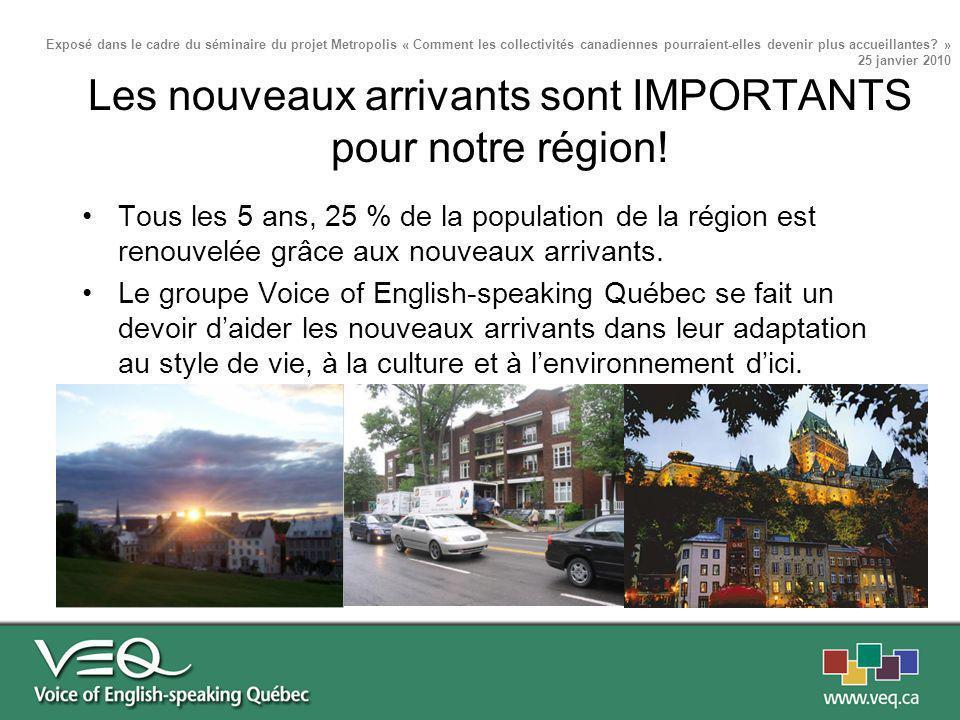 Tous les 5 ans, 25 % de la population de la région est renouvelée grâce aux nouveaux arrivants. Le groupe Voice of English-speaking Québec se fait un