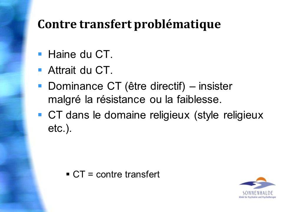 Contre transfert problématique Haine du CT. Attrait du CT. Dominance CT (être directif) – insister malgré la résistance ou la faiblesse. CT dans le do