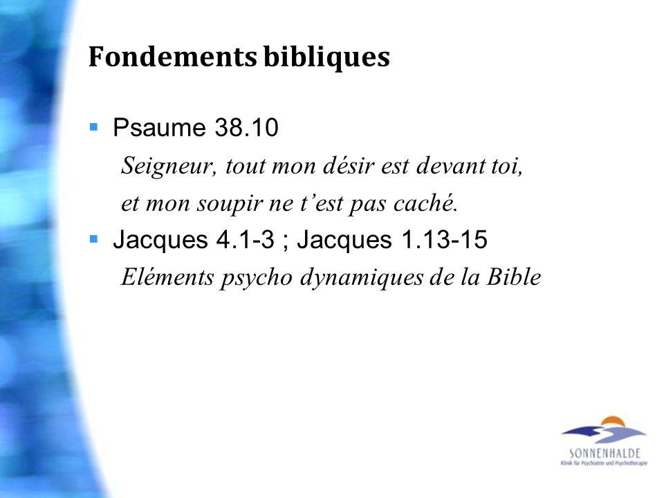 Fondements bibliques Psaume 38.10 Seigneur, tout mon désir est devant toi, et mon soupir ne test pas caché. Jacques 4.1-3 ; Jacques 1.13-15 Eléments p