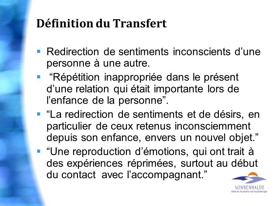 Définition du Transfert Redirection de sentiments inconscients dune personne à une autre. Répétition inappropriée dans le présent dune relation qui ét