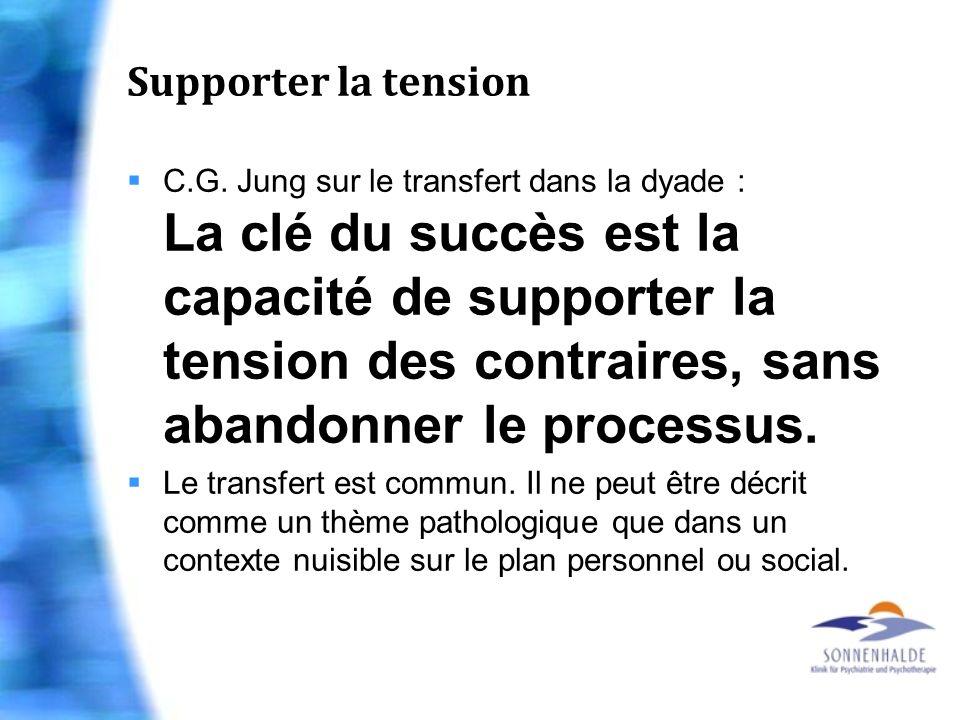 Supporter la tension C.G. Jung sur le transfert dans la dyade : La clé du succès est la capacité de supporter la tension des contraires, sans abandonn