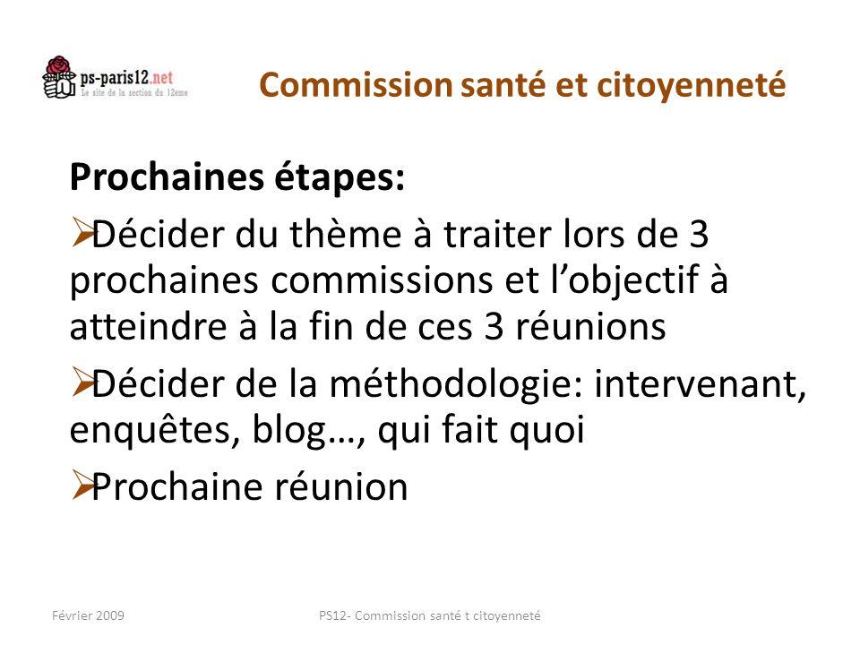 Commission santé et citoyenneté Prochaines étapes: Décider du thème à traiter lors de 3 prochaines commissions et lobjectif à atteindre à la fin de ce