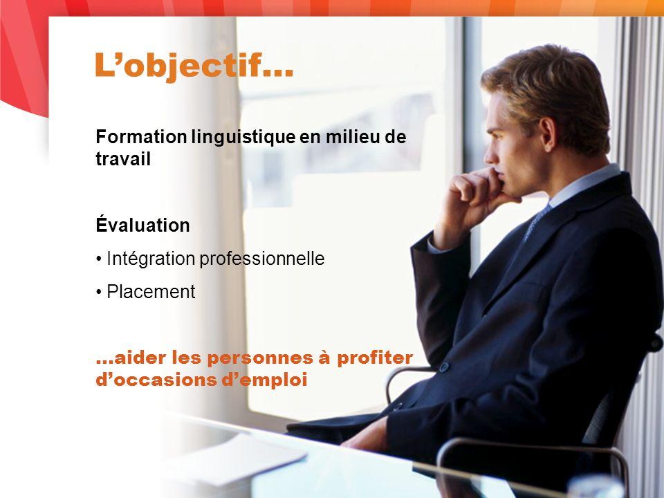 Lobjectif… Formation linguistique en milieu de travail Évaluation Intégration professionnelle Placement …aider les personnes à profiter doccasions demploi