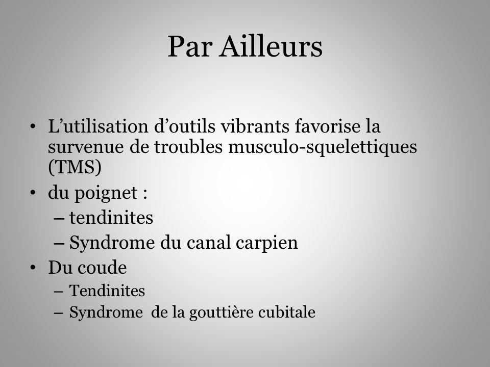 Par Ailleurs Lutilisation doutils vibrants favorise la survenue de troubles musculo-squelettiques (TMS) du poignet : – tendinites – Syndrome du canal