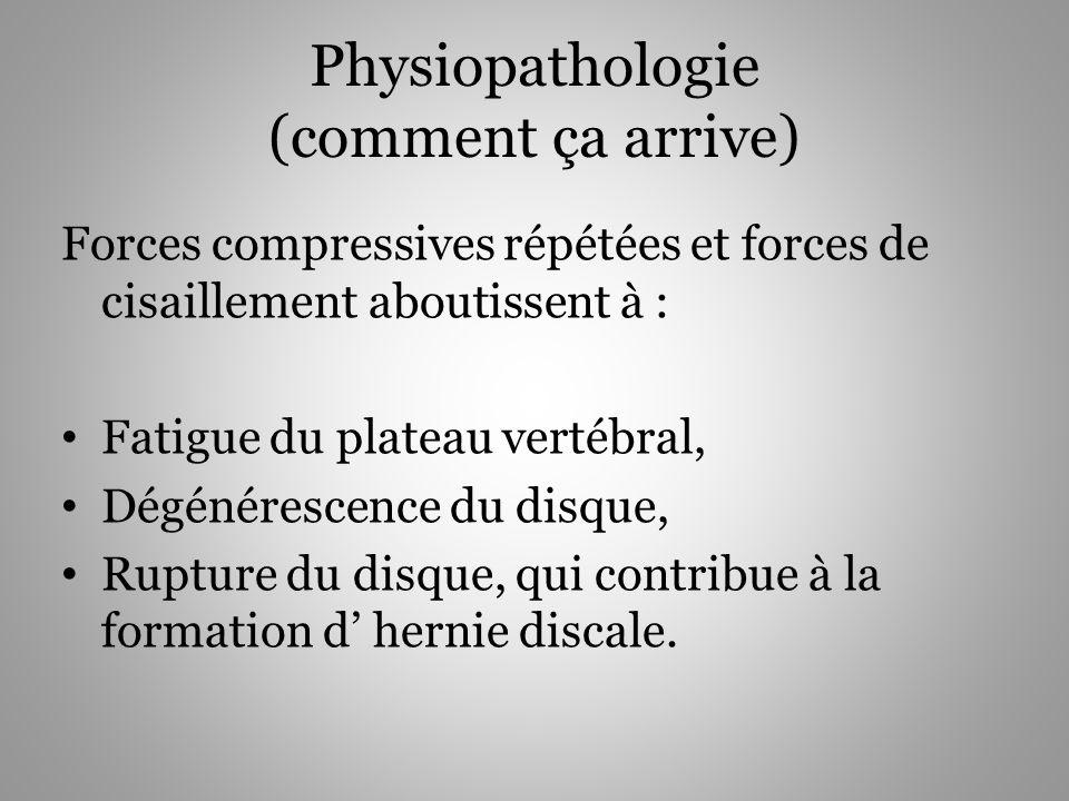 Physiopathologie (comment ça arrive) Forces compressives répétées et forces de cisaillement aboutissent à : Fatigue du plateau vertébral, Dégénérescen