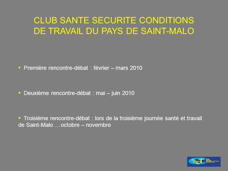Première rencontre-débat : février – mars 2010 Deuxième rencontre-débat : mai – juin 2010 Troisième rencontre-débat : lors de la troisième journée santé et travail de Saint-Malo …octobre – novembre CLUB SANTE SECURITE CONDITIONS DE TRAVAIL DU PAYS DE SAINT-MALO