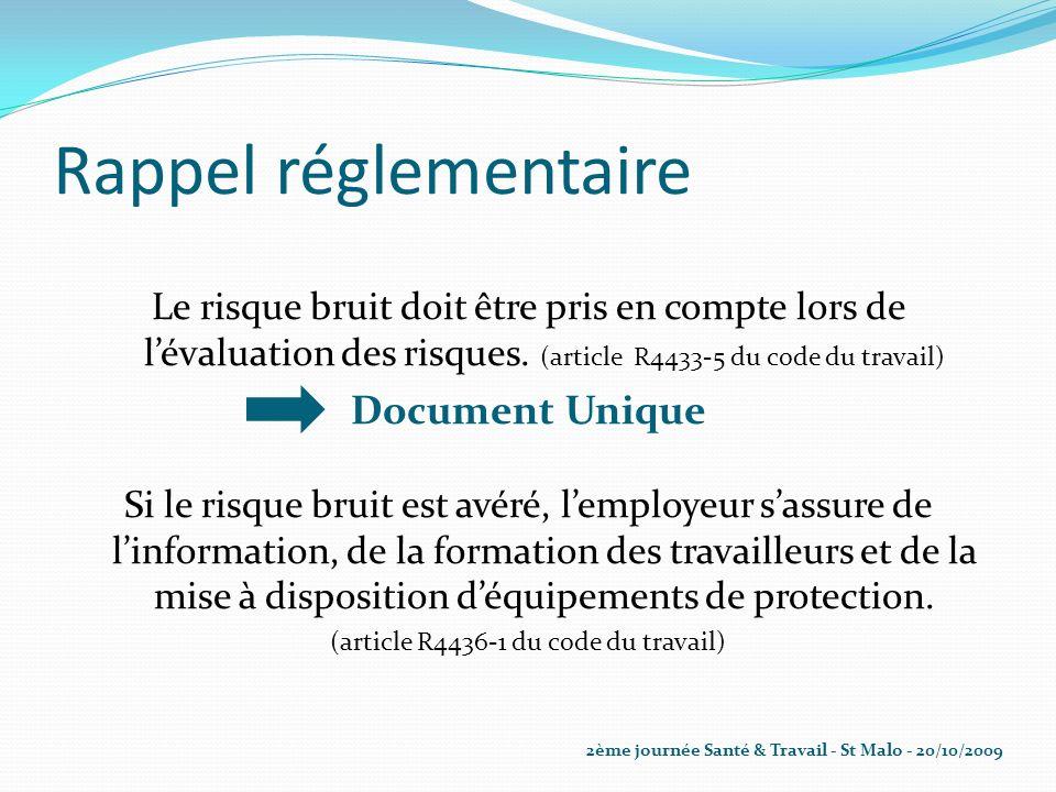 Rappel réglementaire Le risque bruit doit être pris en compte lors de lévaluation des risques. (article R4433-5 du code du travail) Document Unique Si