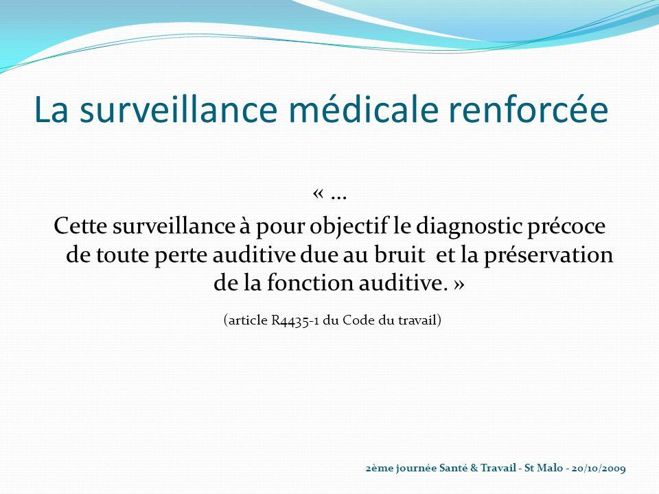 La surveillance médicale renforcée « … Cette surveillance à pour objectif le diagnostic précoce de toute perte auditive due au bruit et la préservatio