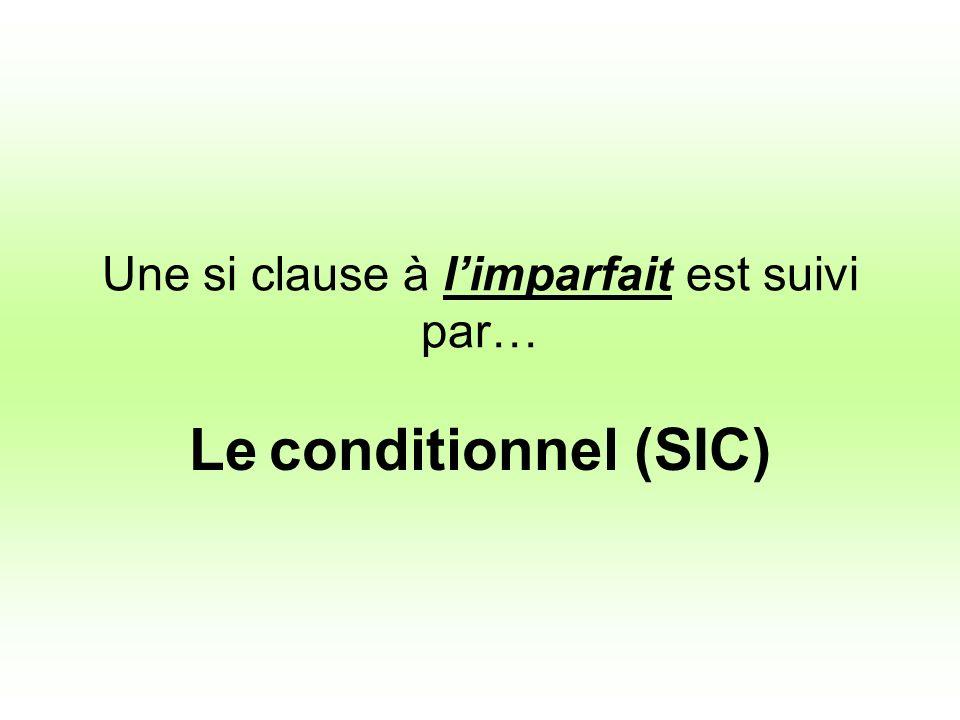 Une si clause à limparfait est suivi par… Le conditionnel (SIC)