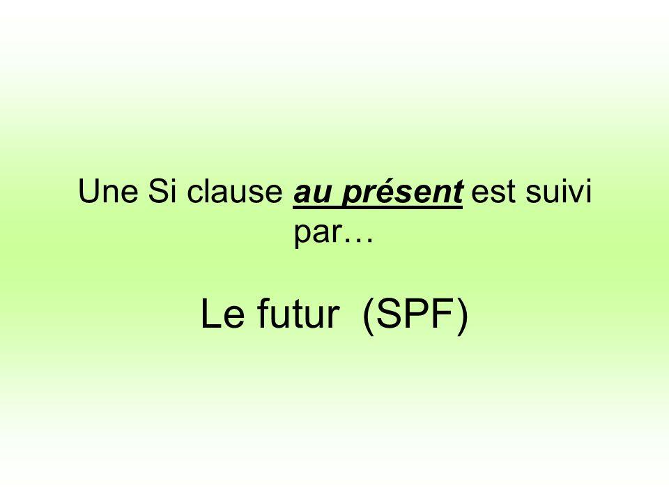 Une Si clause au présent est suivi par… Le futur (SPF)