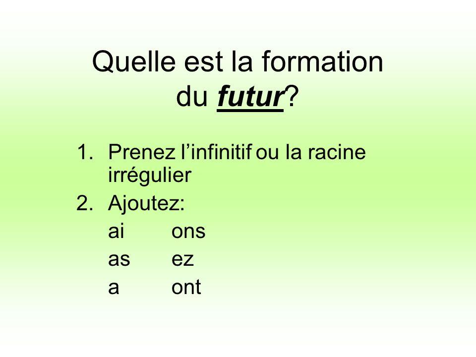 Quelle est la formation du futur? 1.Prenez linfinitif ou la racine irrégulier 2.Ajoutez: aions asez aont