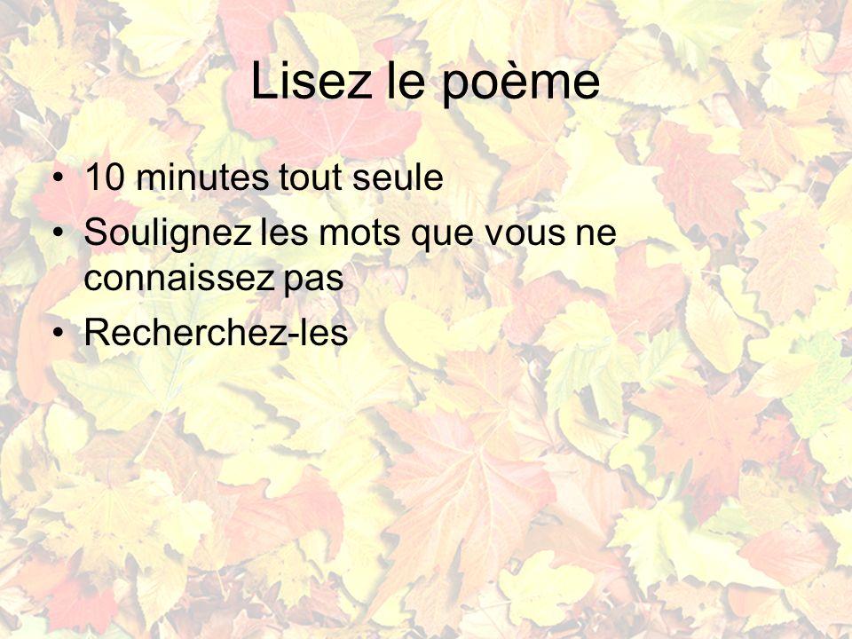 Lisez le poème 10 minutes tout seule Soulignez les mots que vous ne connaissez pas Recherchez-les