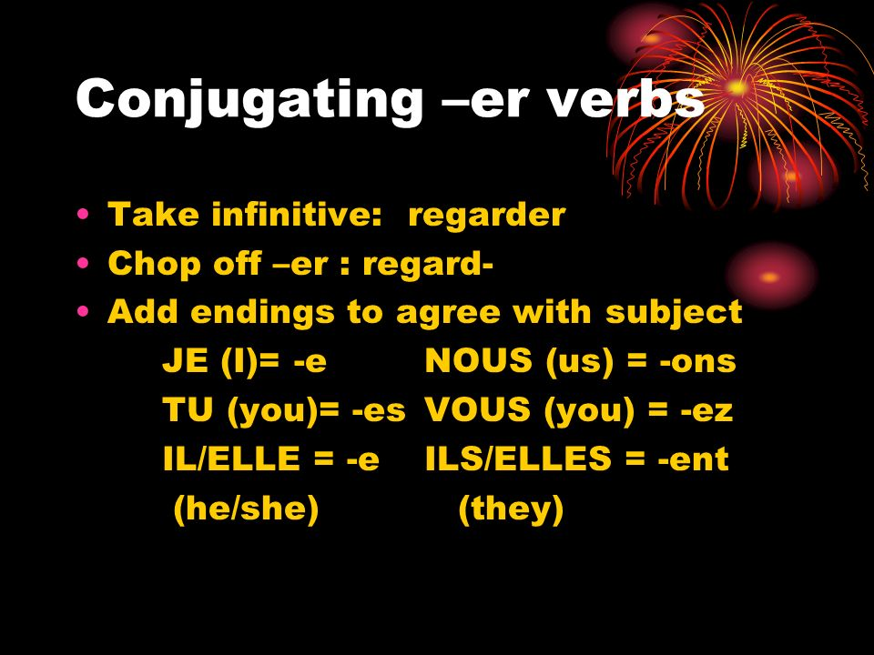 Conjugating –er verbs Take infinitive: regarder Chop off –er : regard- Add endings to agree with subject JE (I)= -eNOUS (us) = -ons TU (you)= -esVOUS