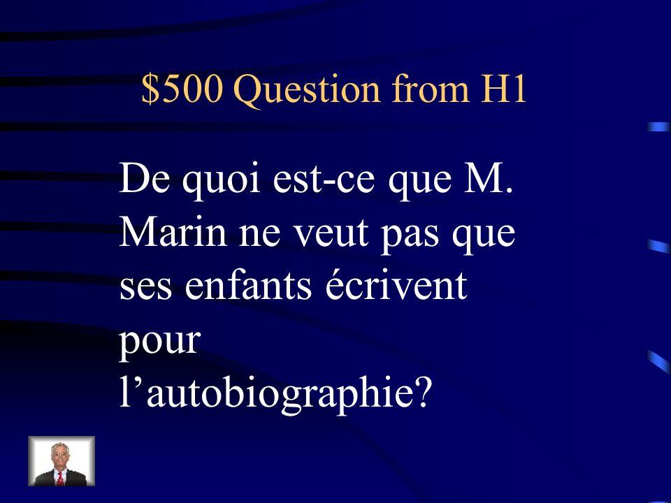 $400 Answer from H1 Carl vient du Caribéan et Souleymane de Mali en Afrique.