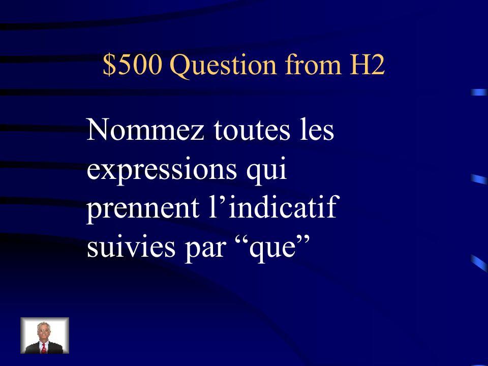 $400 Answer from H2 Il est/je suis sur que… Savoir que…