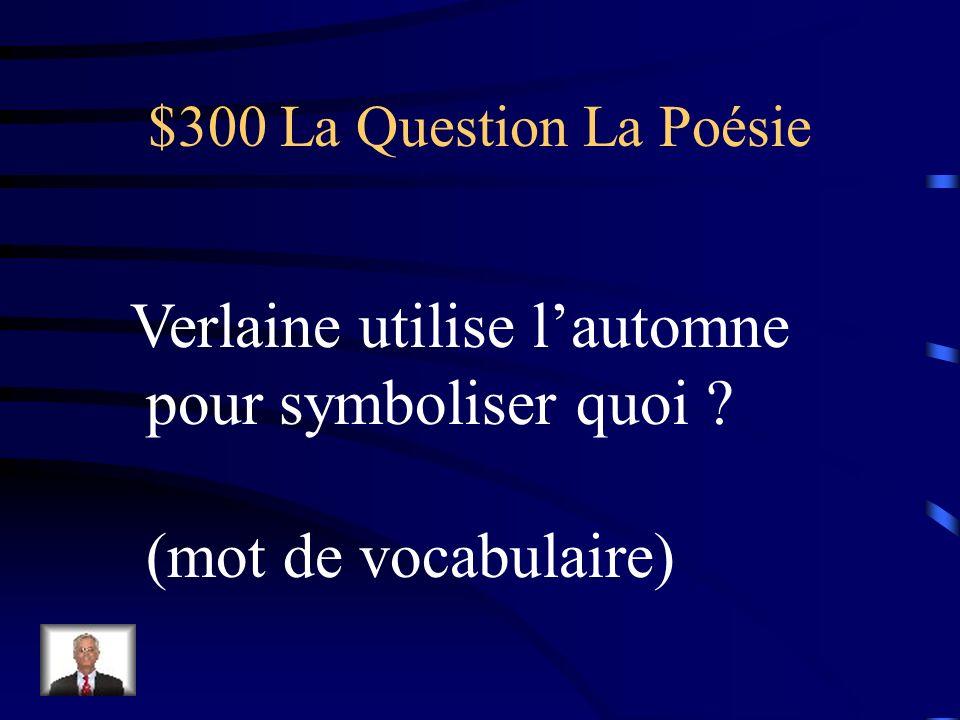 $200 La Réponse La Poésie Trois strophes aabccb