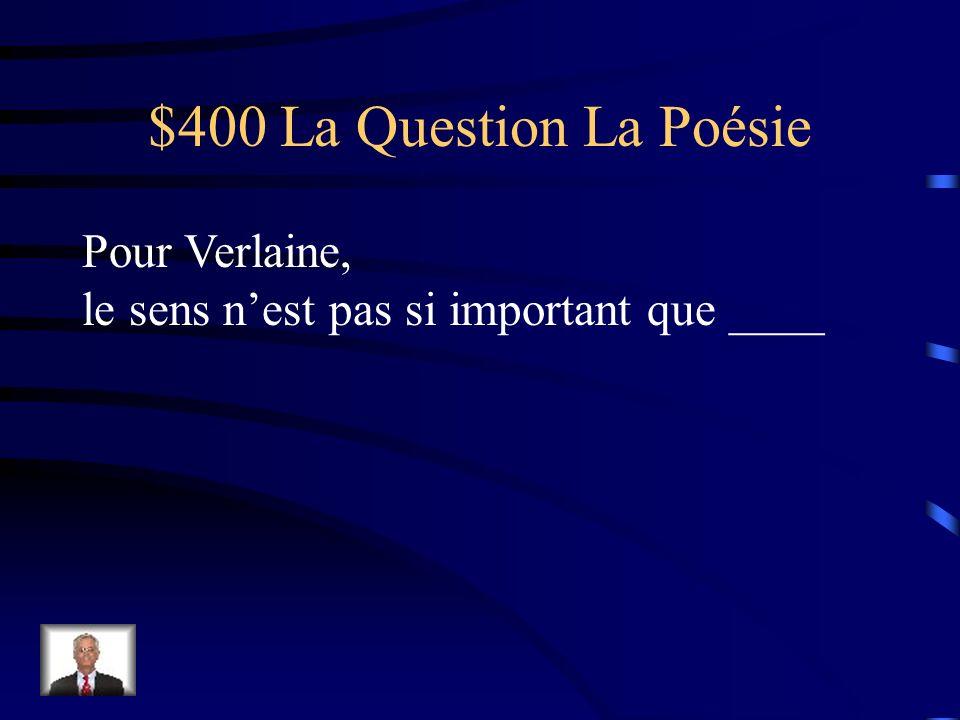 $300 La Réponse La Poésie Sa douleur