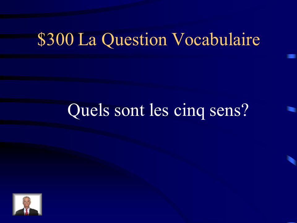 $300 La Question Vocabulaire Quels sont les cinq sens?