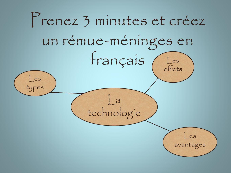 Prenez 3 minutes et créez un rémue-méninges en français La technologie Les types Les effets Les avantages