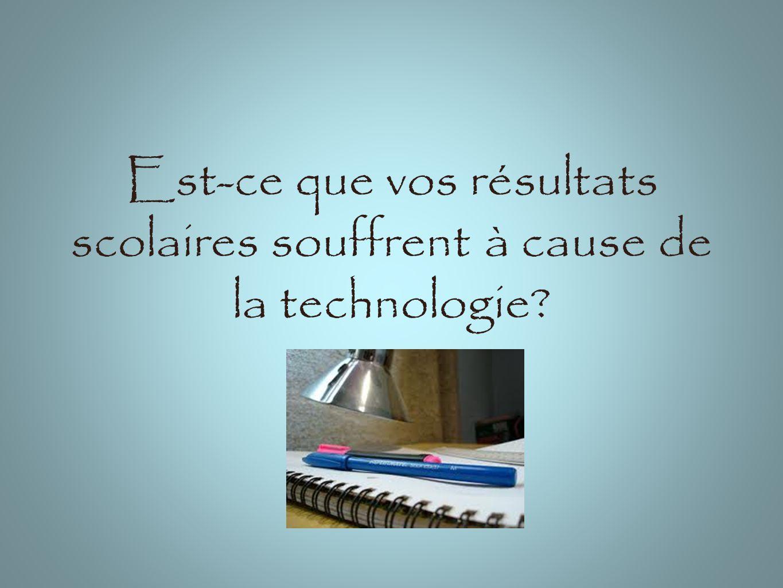 Est-ce que vos résultats scolaires souffrent à cause de la technologie