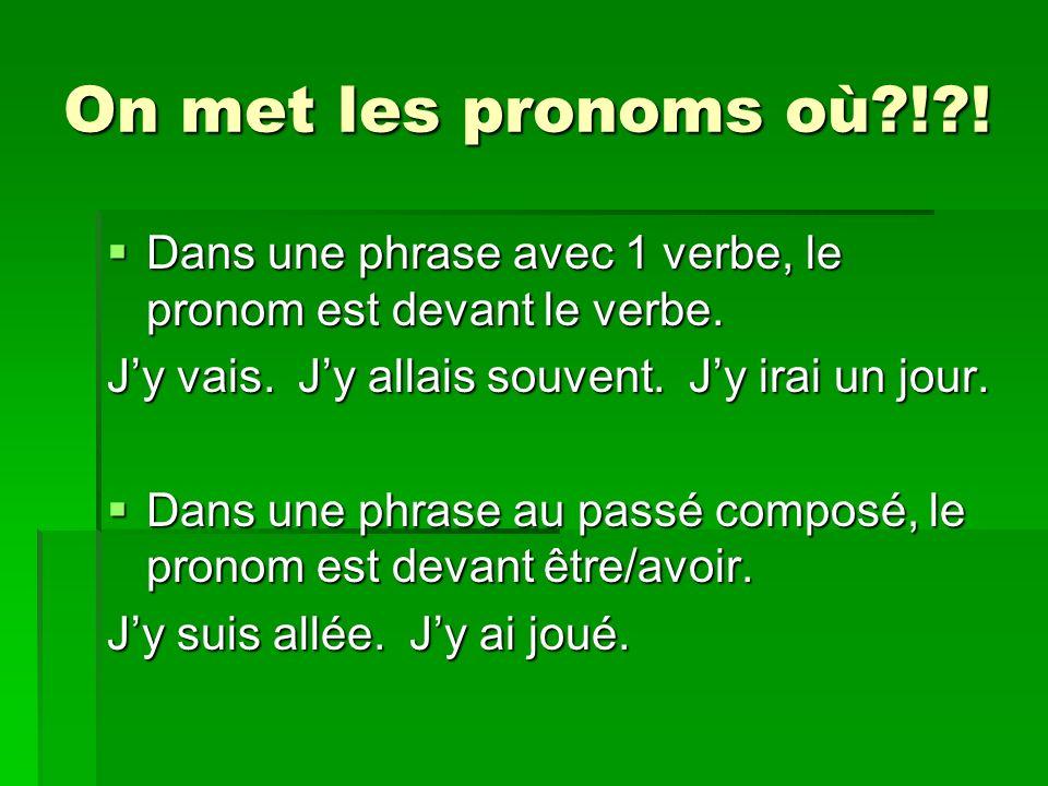 On met les pronoms où?!?. Dans une phrase avec 1 verbe, le pronom est devant le verbe.