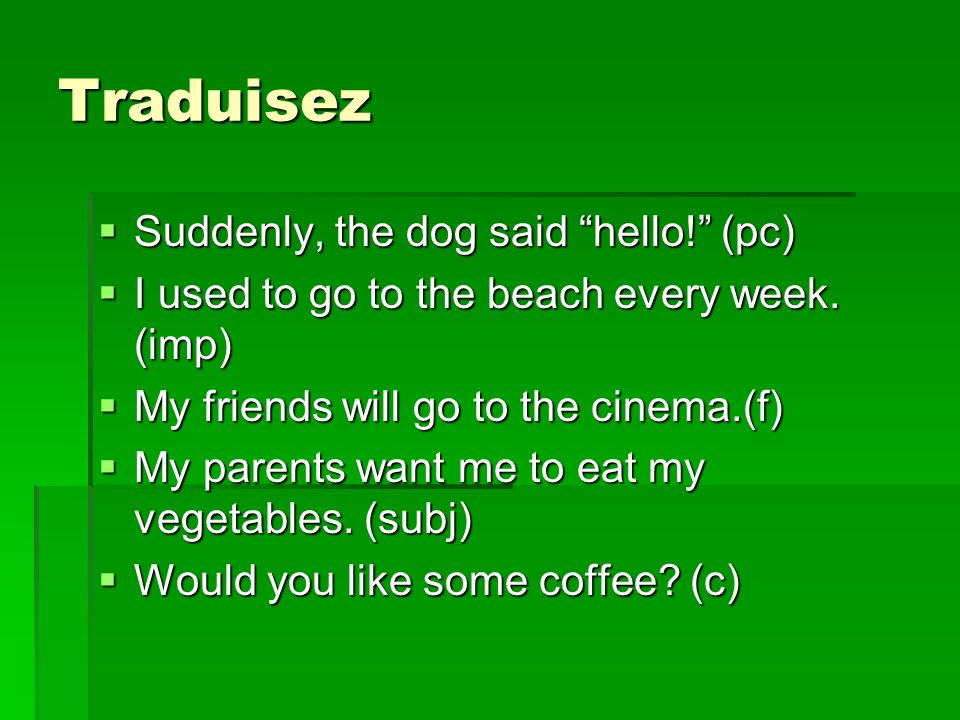 Traduisez Suddenly, the dog said hello. (pc) Suddenly, the dog said hello.