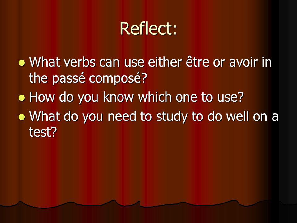 Reflect: What verbs can use either être or avoir in the passé composé? What verbs can use either être or avoir in the passé composé? How do you know w