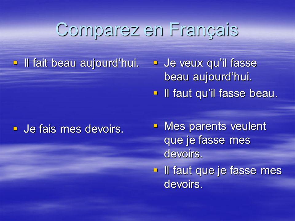 Comparez en Français Il fait beau aujourdhui. Il fait beau aujourdhui.